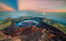 Summit of Mount Rinjani altitude 3726 meter